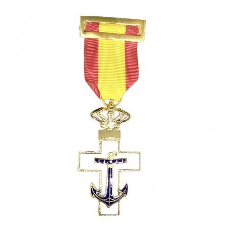 Cruz Completa Merito Naval Distintivo Blanco Corona Real