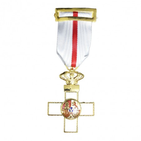 Cruz Completa Merito Militar Distintivo Blanco Corona Real