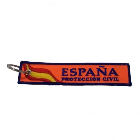 Llavero Textil Bordado Proteccion Civil España